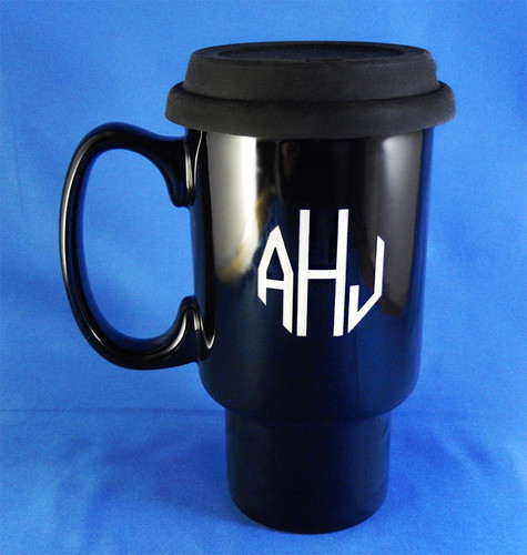 Large Monogrammed Black Gofar Travel Mug