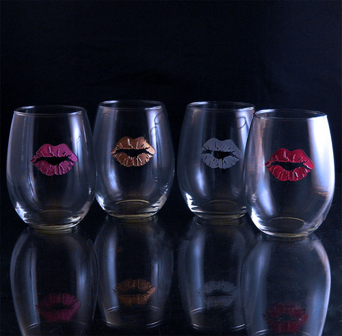 Lip Stain Stemless Wine Glasses, Set of 4