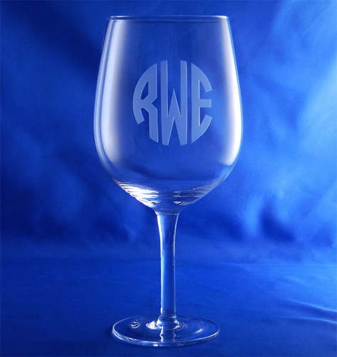 Monogrammed Wine Bottle Glass
