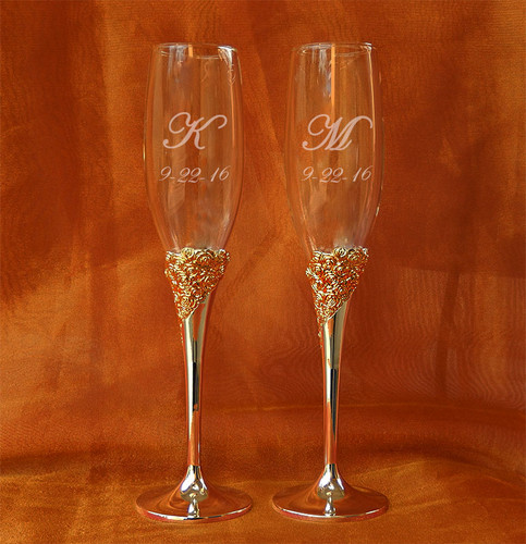 Personalized Crystal Marchesa Rose Silverplate Champagne Flutes