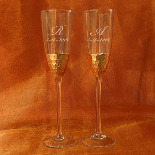 Personalized Gold Mosaic Toasting Flute Pair