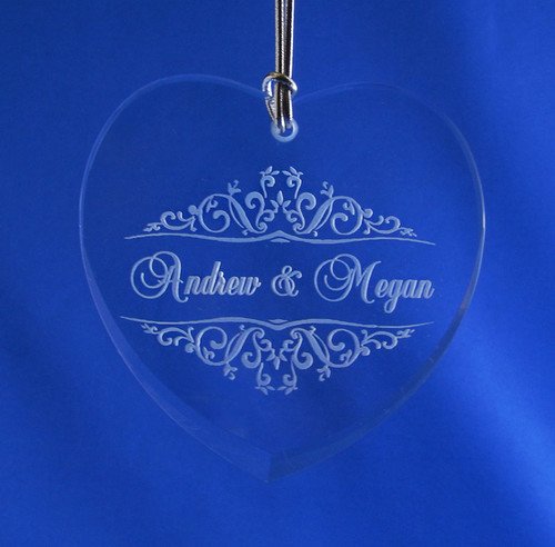 Personalized Flat Crystal Heart Ornament
