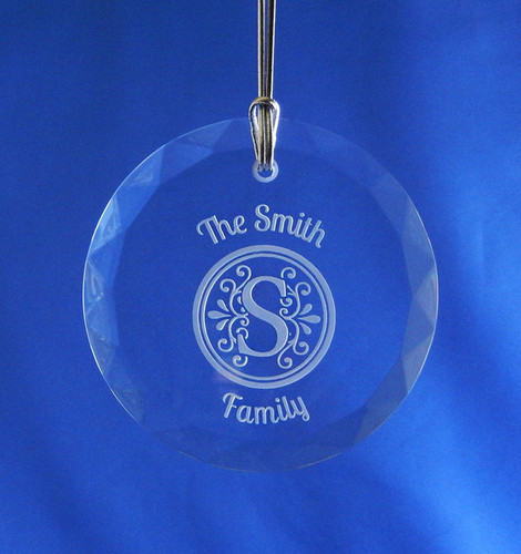 Personalized Round Crystal Ornament