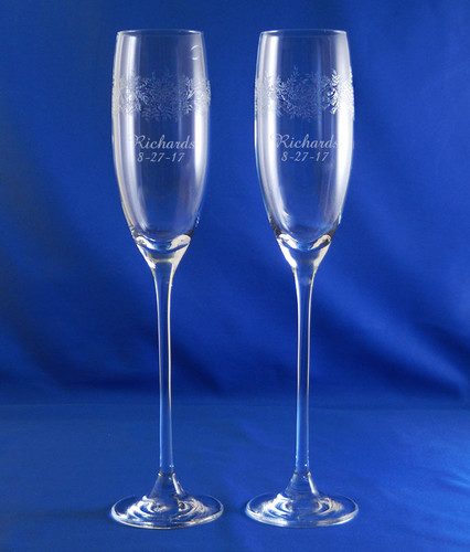 Personalized Crystal Paisley Bloom Champagne Flute Pair by Lenox