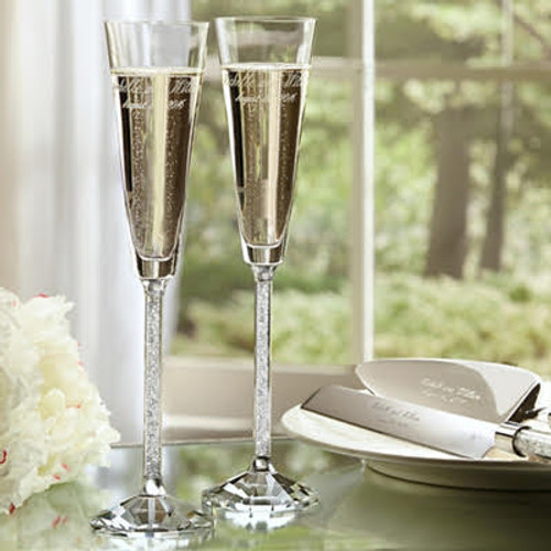 Personalized Crystal Diamond Toasting Flutes by Oleg Cassini