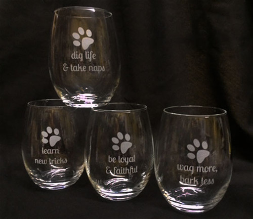 Etched Dog Wisdom Stemless Wine Glass Set