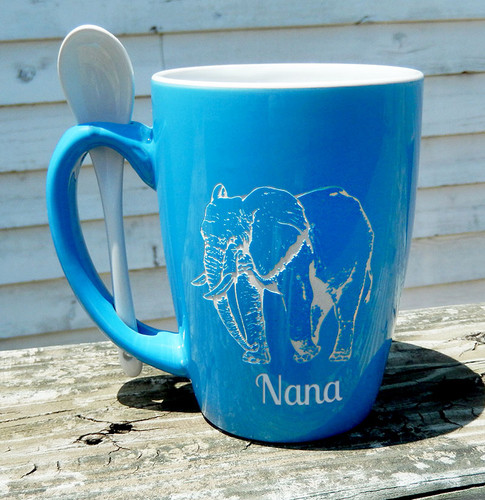 Personalized Sky Blue Animal Mug with Spoon