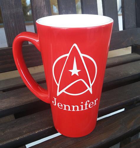 Personalized Red Star Trek Mug