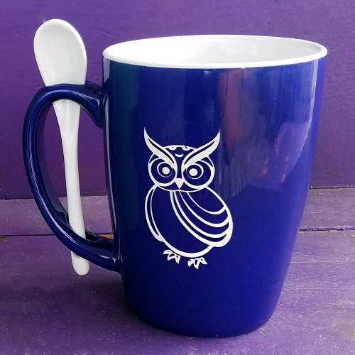 Personalized Royal Blue Owl Mug