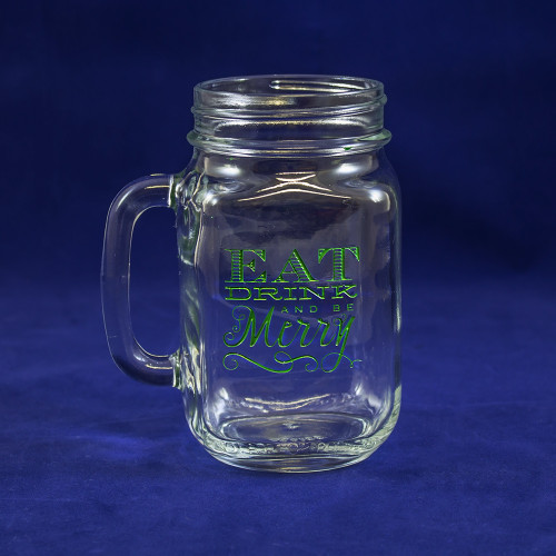 Eat, Drink, and Be Merry Mason Jar Glass in Green