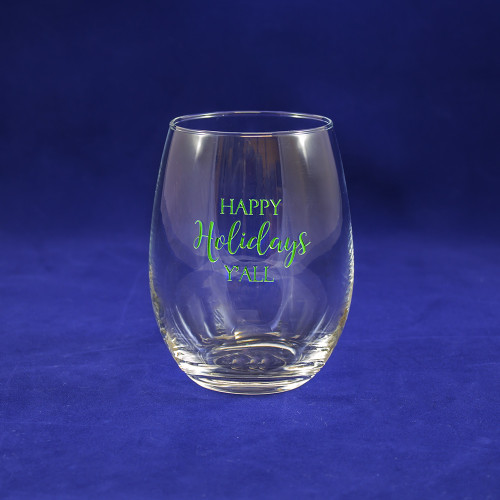Happy Holidays Y'all Stemless Wine Glass in Green