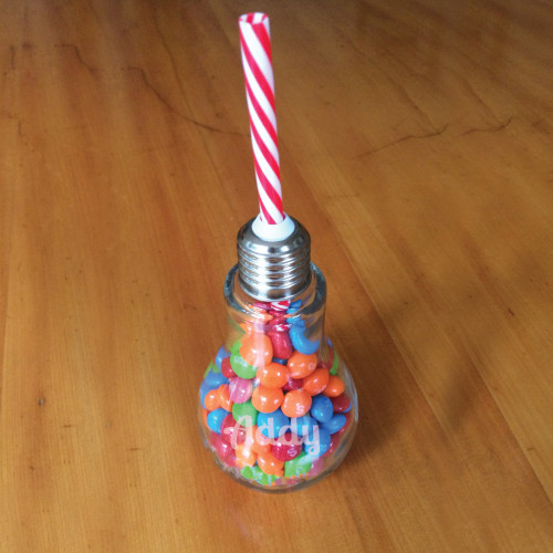 Personalized Lightbulb Glass with Straw