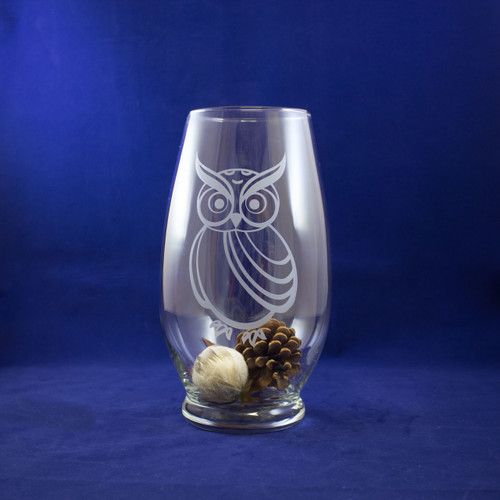 Barrel Vase with Owl Design