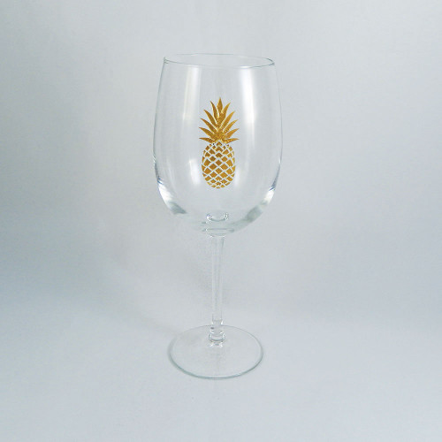 Gold Pineapple Stemmed Wine Glass