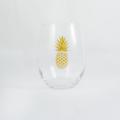 Gold Pineapple Stemless Wine Glass