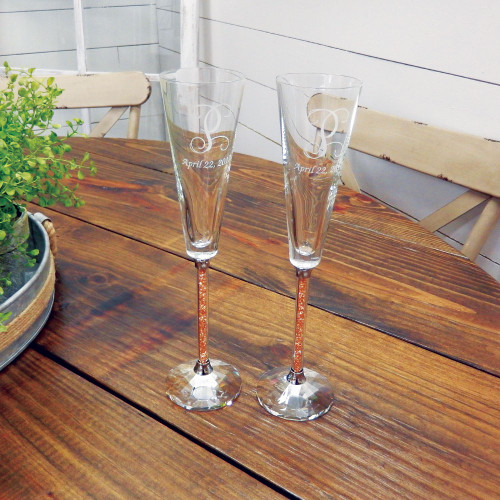 Personalized Gold Diamond Toasting Flutes by Oleg Cassini