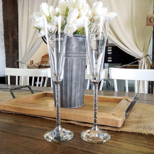 Personalized Black Diamond Toasting Flutes by Oleg Cassini
