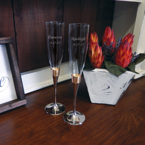 Personalized Hammered Gold Flute Pair