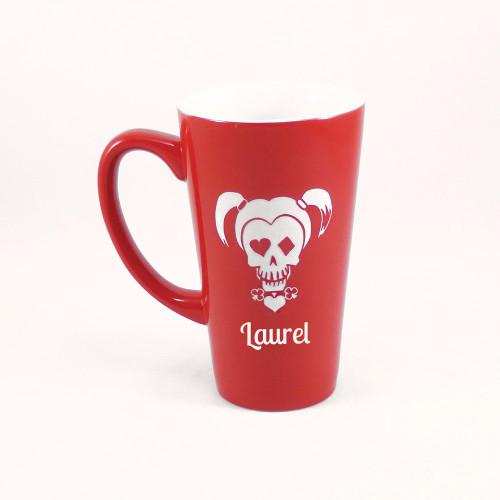 Personalized Red Harley Quinn Skull Mug