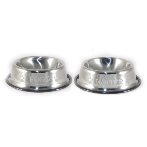 Stainless Steel Pet Food and Water Bowl Set