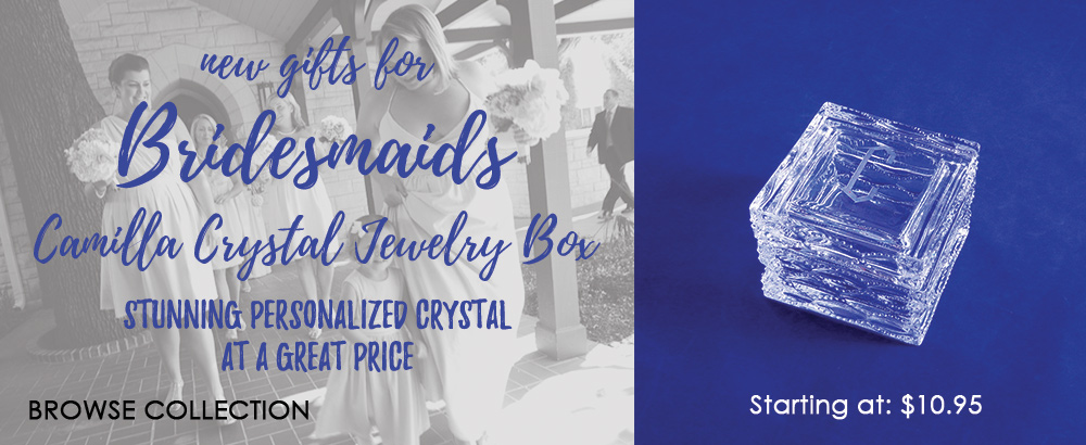 Gorgeous and affordable personalized Bridesmaid gifts starting at $10.95!