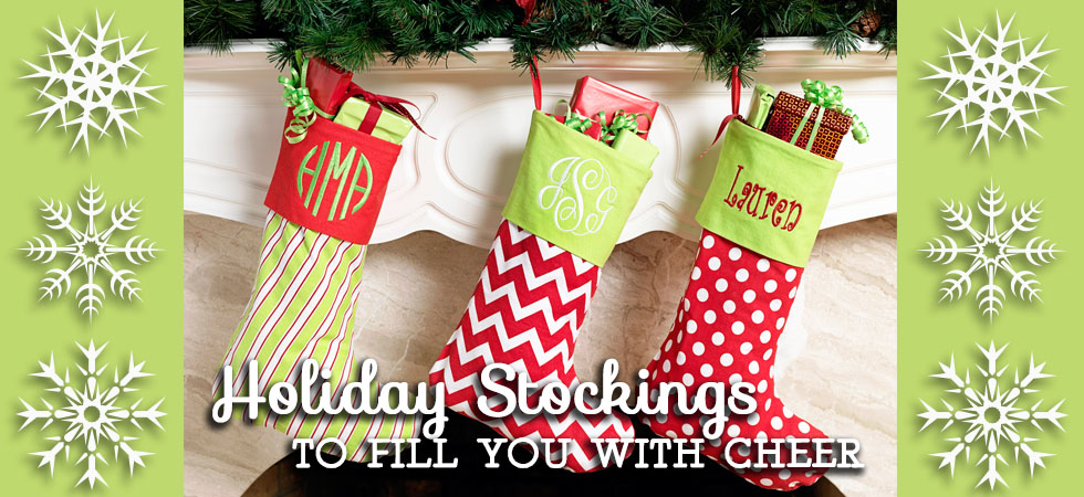 The Crystal Shoppe's Collection of Monogrammed Holiday Christmas Stockings