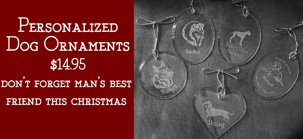 Order a personalized dog ornament today!
