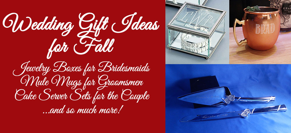 Fall is upon us, and we have personalized gifts perfect for fall weddings!