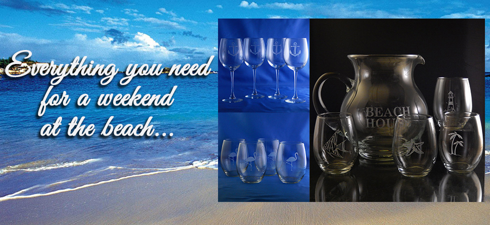 Enjoy a weekend at the beach with our personalized nautical glassware