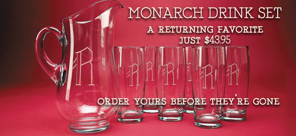 Our Monarch Drink set is backin, order yours today!