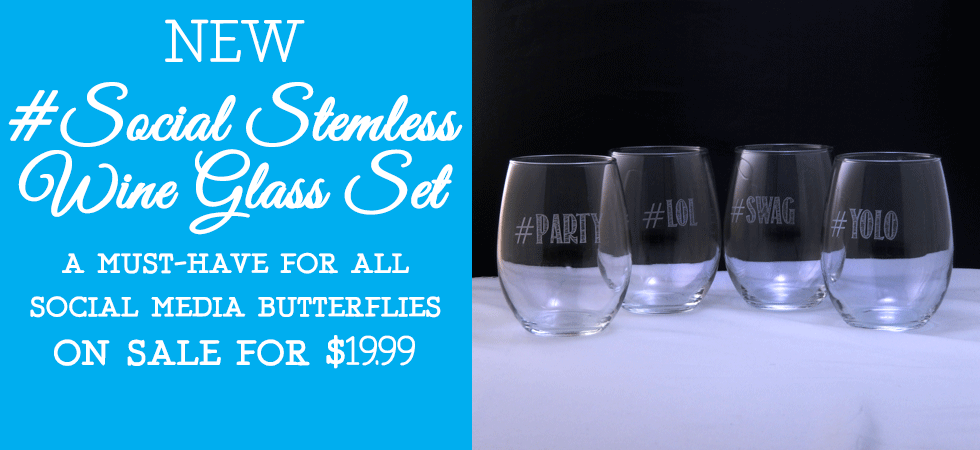 Our Trendy New Etched Social Stemless Wine Glass Set is on sale now for just $19.99! Order a set today!