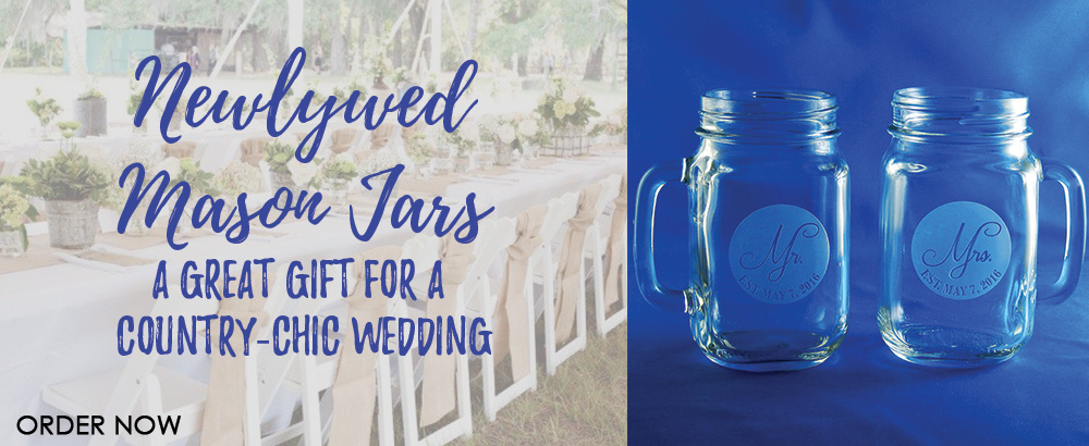 Newlywed Mason Jars are perfect for a country-chic wedding!