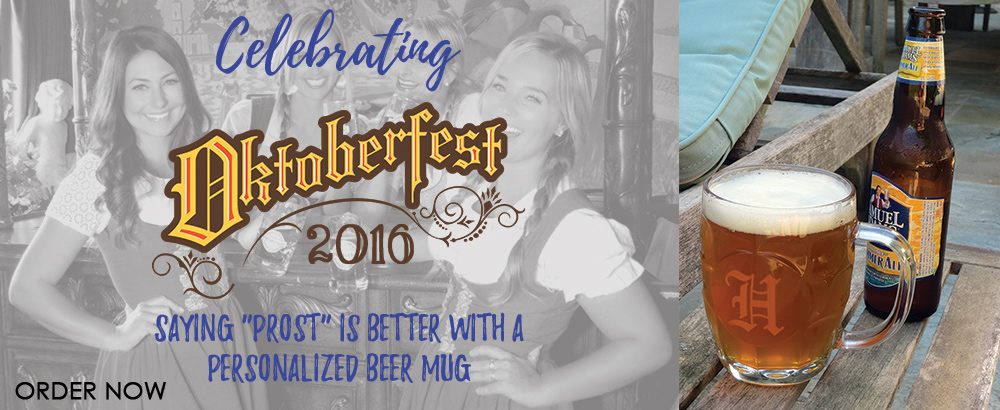 Celebrate Oktoberfest with personalized Beer Mugs and Glasses!