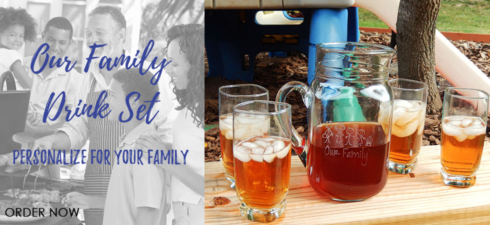 The new Our Family drink set is the perfect personalized touch for backyard entertaining this summer!