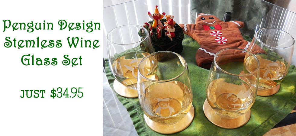 Adorable Penguin Design Wine Glasses, perfect holiday gift! Order Today!