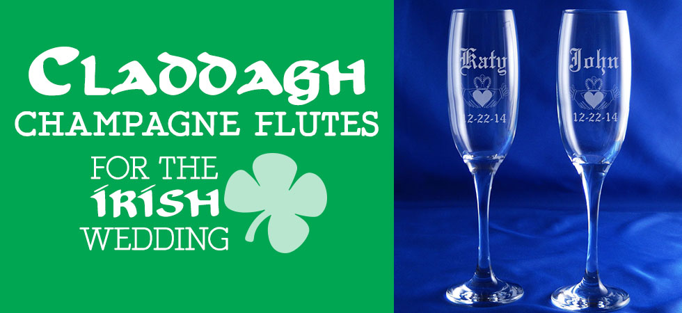 Personalized Claddagh Champagne Flutes