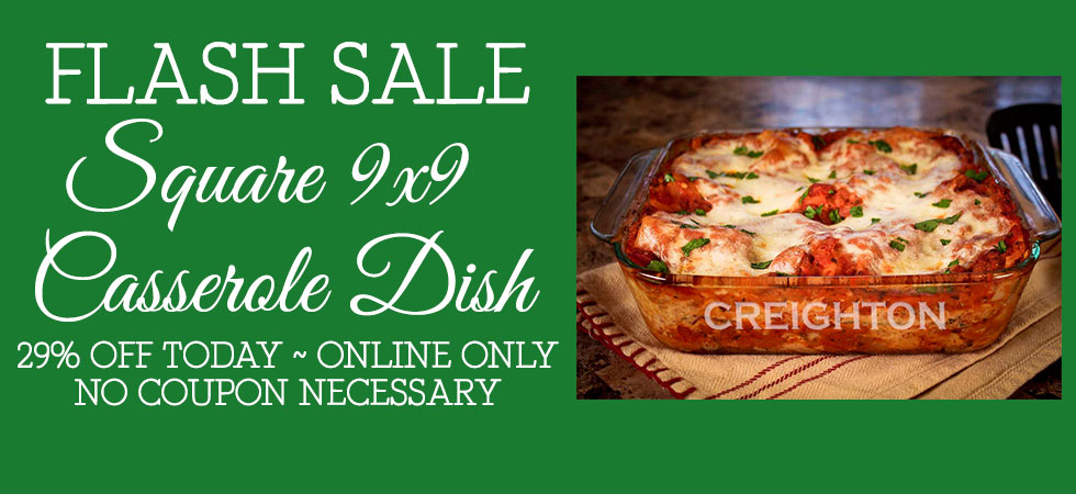 FLASH SALE: Take 29% off our Personalized Square 9in Casserole Dish in honor of National Lasagna Day!