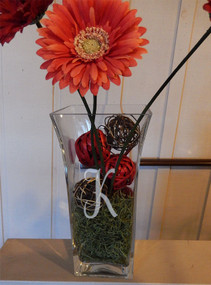 "Personalized 12"" Fluted Vase with Flowers"