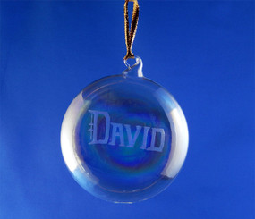 Personalized Hand-Engraved Blown Flying Saucer Ornament