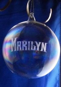 100mm Round Handcut Glass Blown Ornament