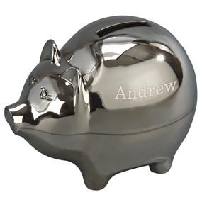 Monogrammed Polished Piggy Bank