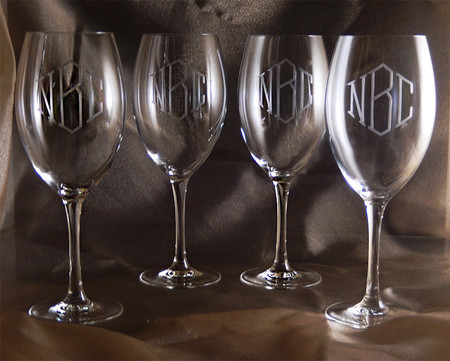 Monogrammed finesse crystal wine glasses set of 4 the Big w wine glasses