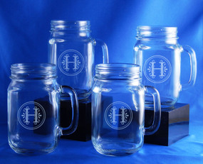 Monogrammed Mason Jar Mugs