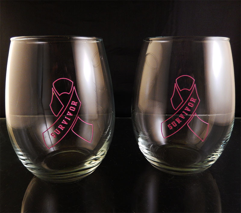 pink o stemless wine glasses for breast cancer