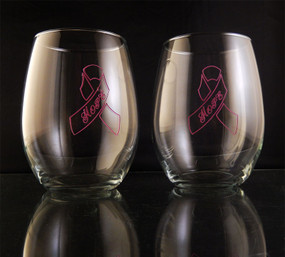 Engraved Hand Painted Breast Cancer Pink Hope Ribbon Outline 21oz Stemless Wine Glass Pair