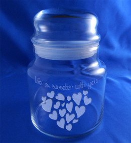 """Life is Sweeter With You"" Valentine's Day Hearts Candy Jar"