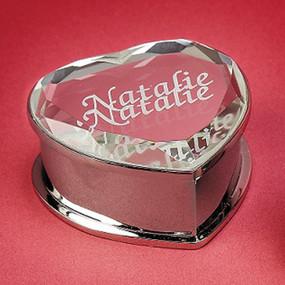 Personalized Mirrored Heart Jewelry Box
