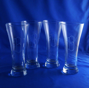 Monogrammed Quench Pilsner Glasses, Set of 4
