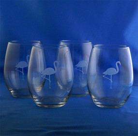 Etched Flamingo Stemless Wine Glasses