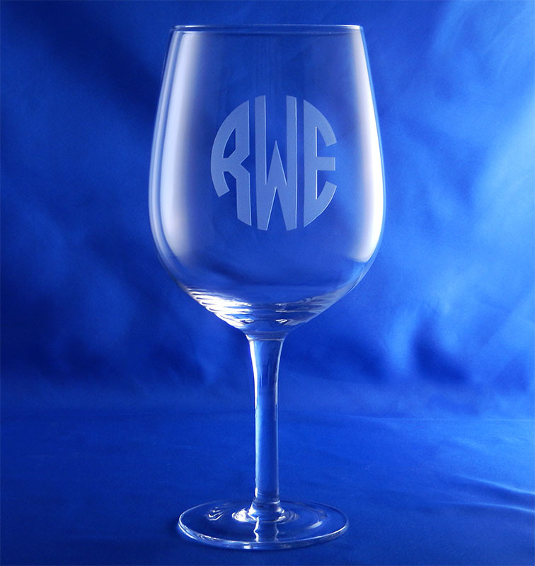 Monogrammed wine bottle glass the crystal shoppe Big w wine glasses